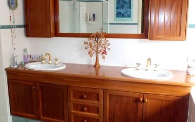 Custom natural wood bathroom vanity