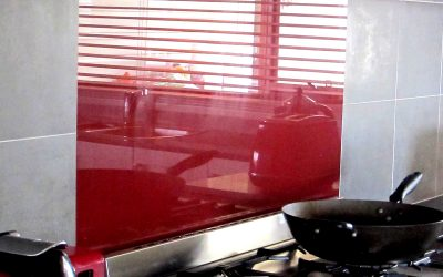 Combination glass and tile splashbacks