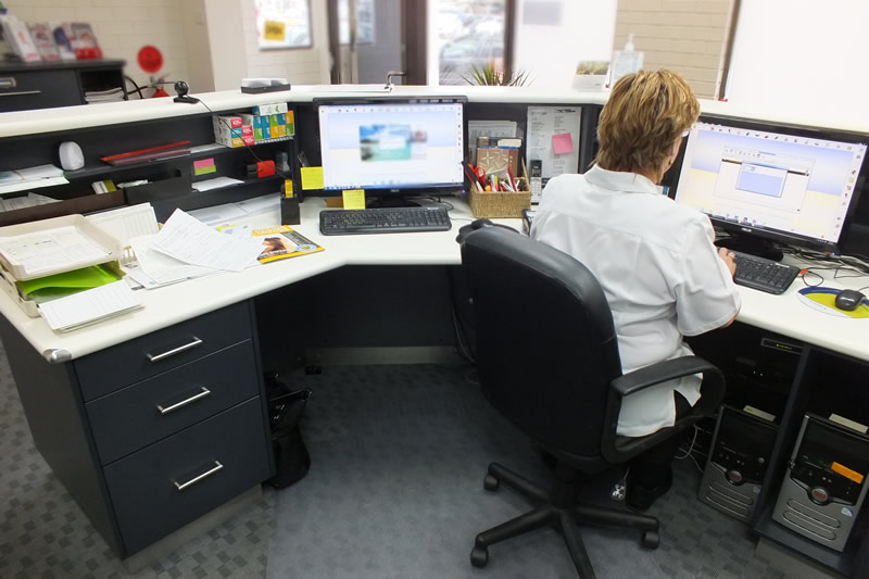 Reception counter and admin facilities